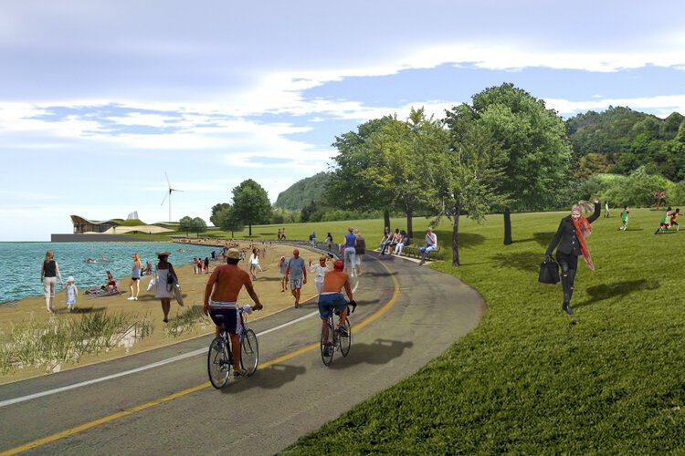 Rendering showing a proposed park and beach on the Burke Lakefront Airport site