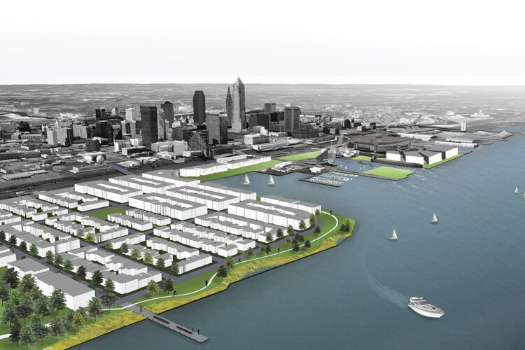 Rendering showing conceptual development and waterfront access for the Burke Lakefront Airport site