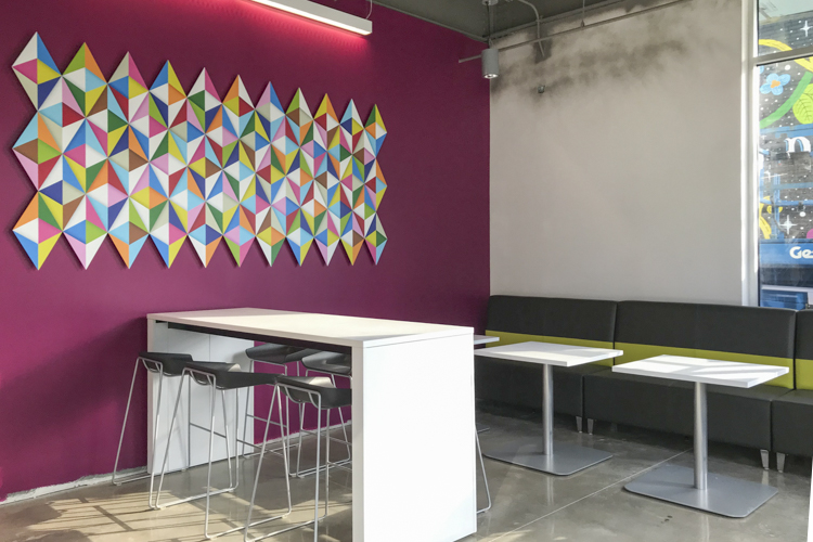 Interior of the new LGBT Community Center with artwork by Andrew Reach