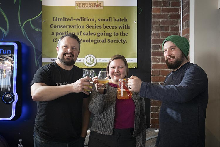 Terrestrial Co-Founder Ryan Bennet, Cleveland Zoological Society Interim Executive Director Sarah Crupi, Terrestrial Co-Founder and brewmaster Ralph Sgro
