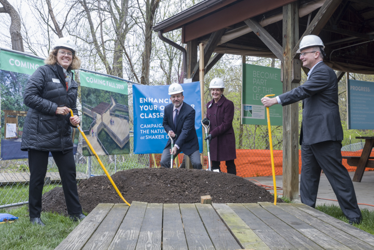 Nature Center at Shaker Lakes capital improvement groundbreaking event: Kay Carlson, Nature Center President and CEO, David Lavelle, Campaign co-chair, Cindy Klug, Campaign co-chair and Jim Dixon, Board Chair