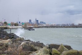 Public access to Lake Erie would be increased by plans to relocate the Shoreway south of the railroad tracks.