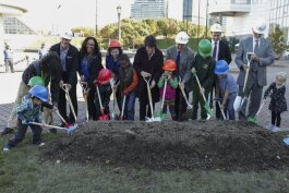 The ceremonial groundbreaking for downtown Cleveland's first public playground Oct. 28 at North Coast Harbor.