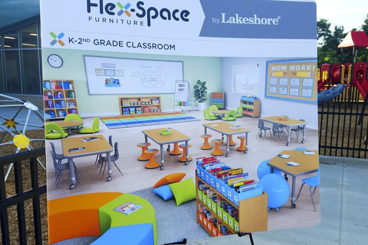 An illustration at the ribbon cutting shows the modern furnishings inside the new Cletus Jeckering Learning Center.