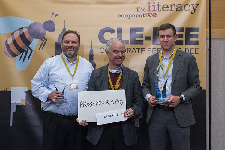 Cleveland law firm Benesch took home the trophy at the Literacy Cooperative's fourth annual CLE-BEE Corporate Spelling Bee.