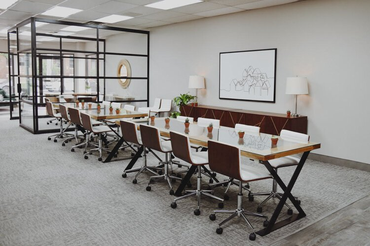 Berkshire Hathaway's Gordon Square offices, designed by Borrow Curated Furniture + Design.