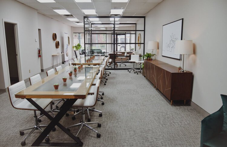 Borrow Curated Furniture + Design enlisted Shred and Co. for the glass build-out of this conference room in Berkshire Hathaway's Gordon Square offices.