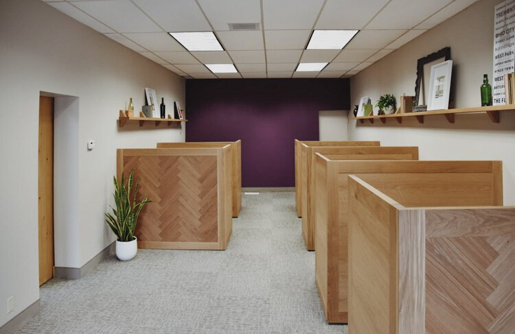 Borrow Curated Furniture + Design commissioned Sawhorse Woodworks to make these cubicles for Berkshire Hathaway's Gordon Square offices.