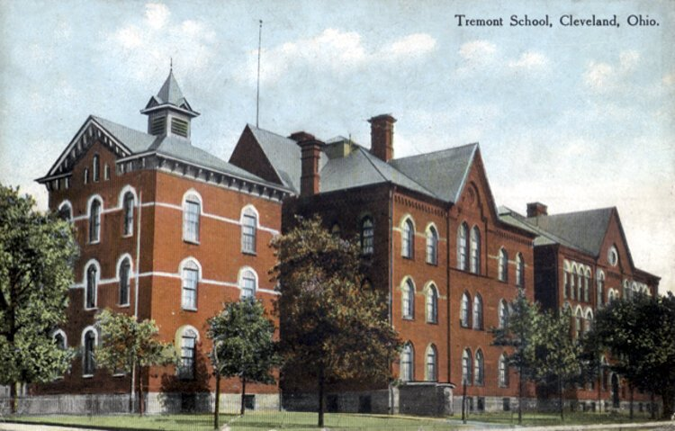 A colorized postcard of the original Tremont School, which was torn down in the first decade of the 20th century.