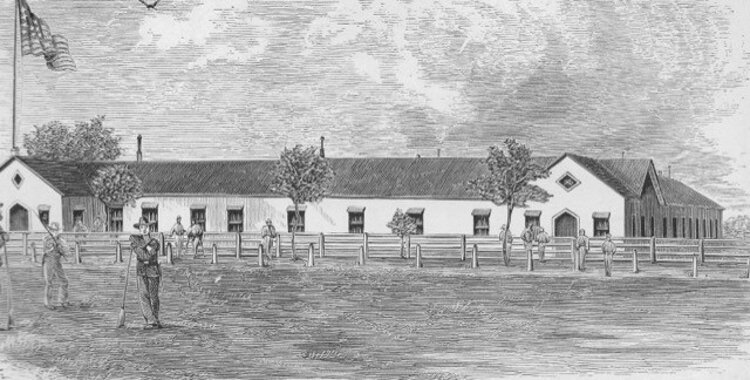 "A line drawing of the ""United States General Hospital Cleveland"" at Camp Cleveland (drawn in the 1860s). Camp Cleveland (in Northeast Tremont) was the largest and longest operating Civil War training camp in the area."