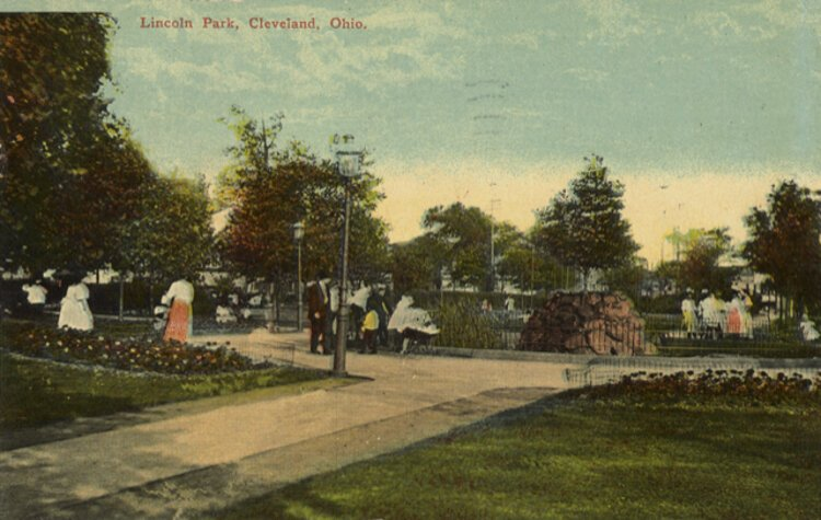 Colorized postcard of Lincoln Park in Tremont around the turn of the 20th century.