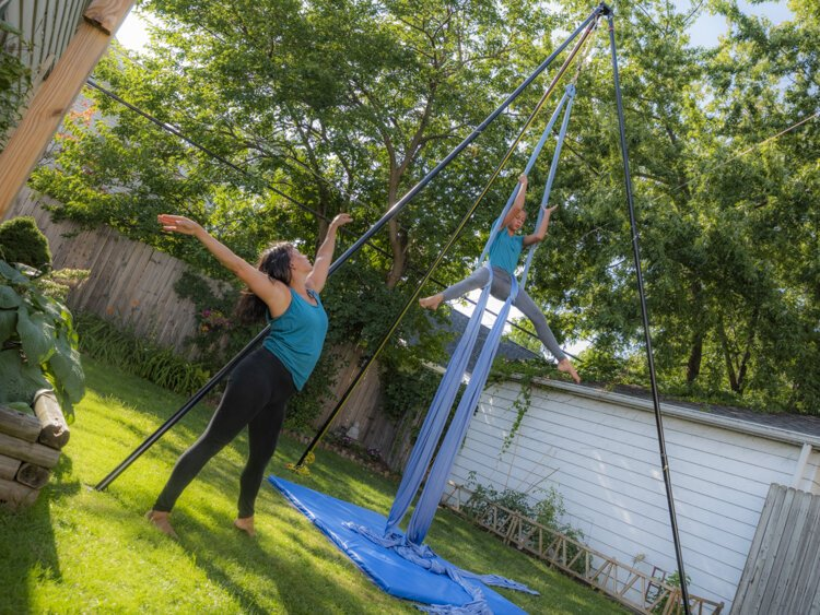 Jennifer Sandoval Eccher and her daughter Sophia of Marquez Dance Project practicing in their backyard for the performance.