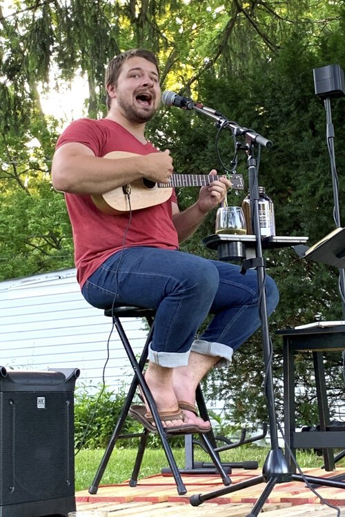 Sam Winterberger playing in his front yard in Fairview Park