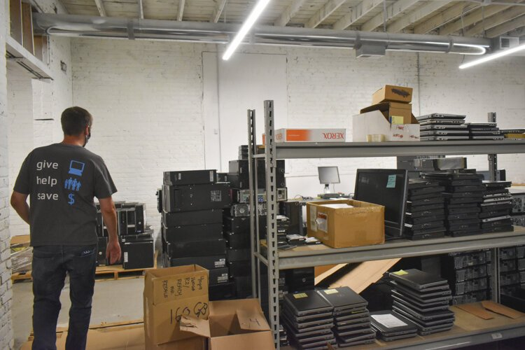 PCs for People's warehouse for devices that will be recycled or reused.