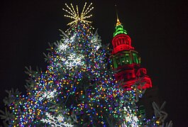 Public Square lit up for the Holidays.