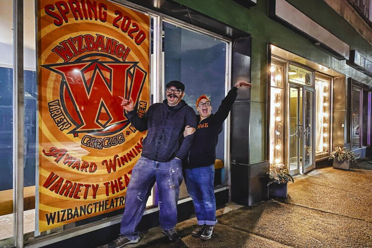 Wizbang founders Jason and Danielle Tilk in front of their new location in the former Kalliope Stage space inCleveland Heights.