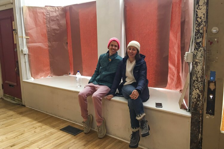 "Pop Life's Jack ""Jodha Nam"" Mueller and Agnes Studio's Danielle Uva check out the space before it opens."
