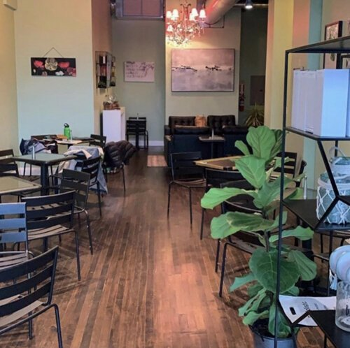 Owner Melissa Garrett restored the original maple hardwood floors and designed a relaxing atmosphere at the UnBAR Cafe.