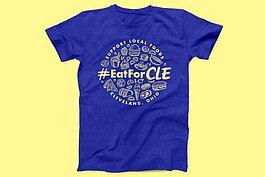 Show your support for our restaurant community with an #EatForCLE tee.