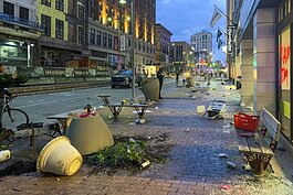 Clean up after the rioting in downtown Cleveland.