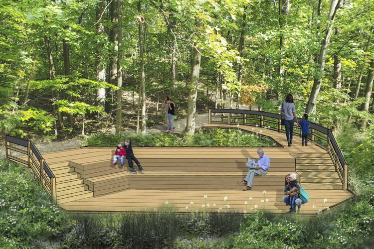 Nature Center at Shaker Lakes - Stearns Trail Reconstruction - Mini Marsh Deck rendering