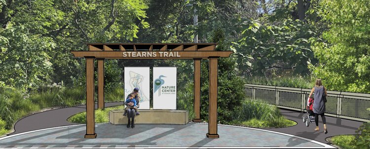 Nature Center at Shaker Lakes - Stearns Trail Reconstruction - trrail head rendering