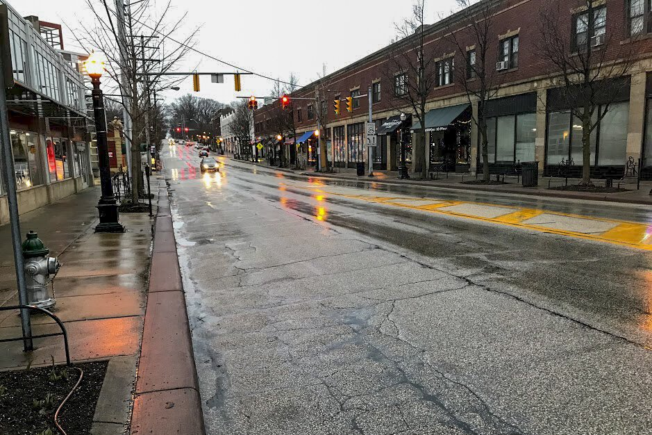 The Coventry Road business district in Cleveland Heights at 7:20 p.m. Thursday, March 19, 2020.