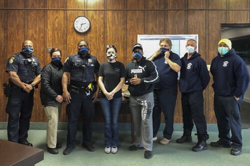 Dave's Quarantinis partners with Face Mask Workers Ohio, who made special masks for the Woodmere Police Department.