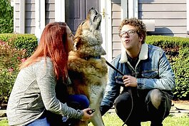 Dave Lucas and Amy Keating, with their German shepherd/malamute dog Dagwood.