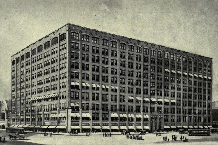 Burnham and Root's first steel framed skyscraper, the 1889 Rand McNally Building on Adams Street in Chicago