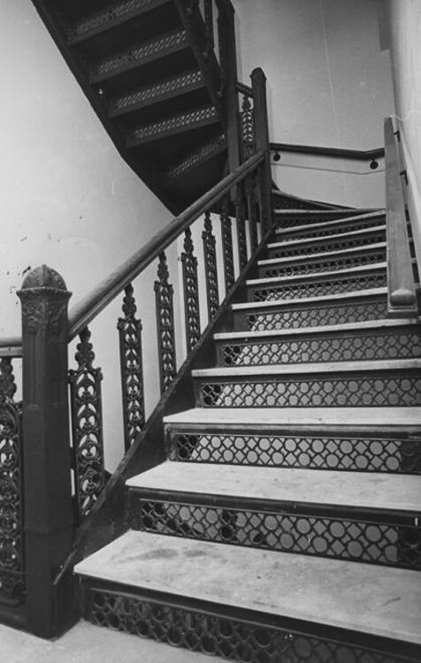 The original spiral stairway with marble steps in the Western Reserve Building -1976.