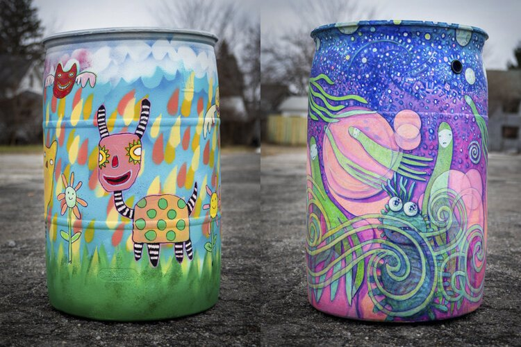 Rain barrels by artists Linda Zolten Wood and Scott Pickering