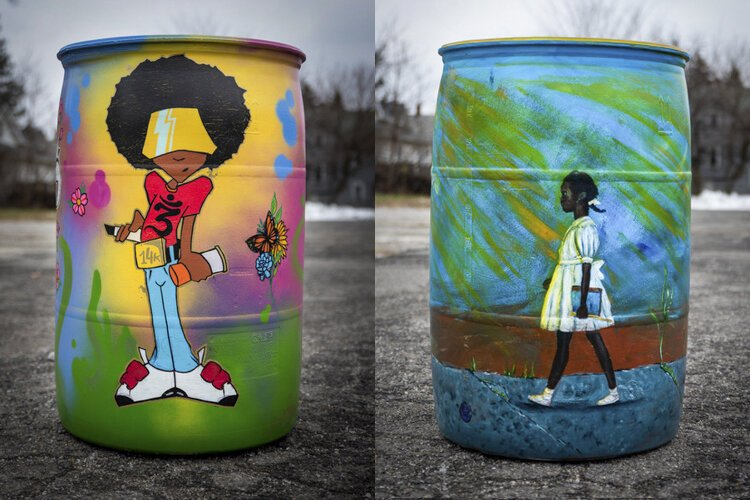 Rain barrels by artists Chris Pokes and Anitra Frazier