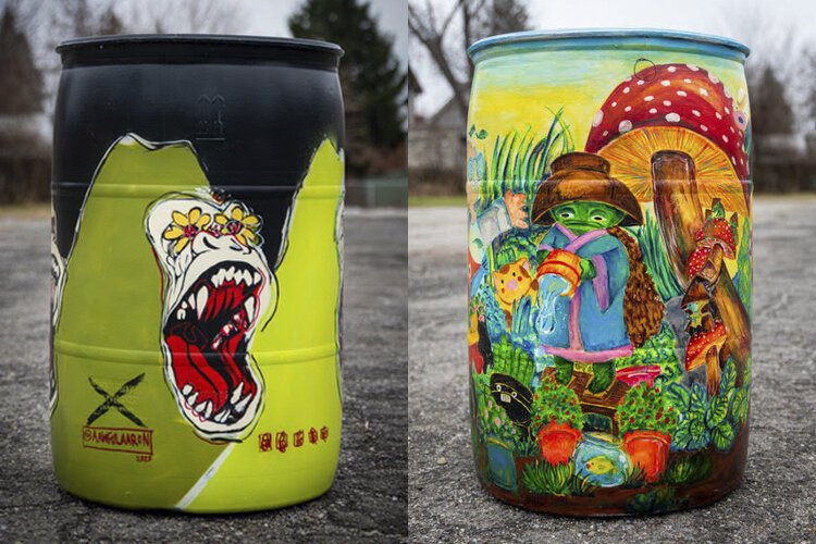 Rain barrels by artists Aaron Williams and Chi Wong
