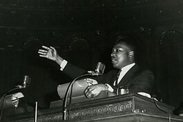 Dr. Martin Luther King, Jr. speaking at Cory United Methodist Church in 1963.