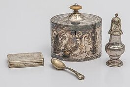 English George III Period silver oval tea caddy by Henry Chawner
