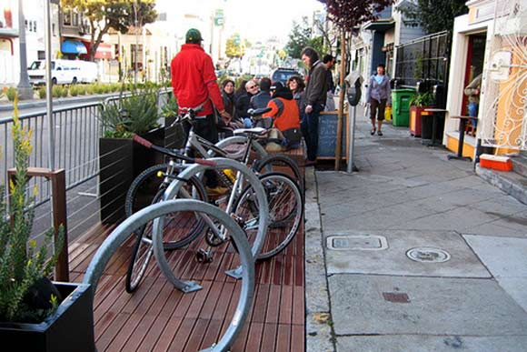 Euclid Avenue Bike Corral and Parklet rendering