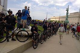 Police use their bikes are barricadesades