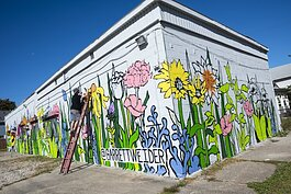 Bridge Blooms mural by artist Garrett Weider