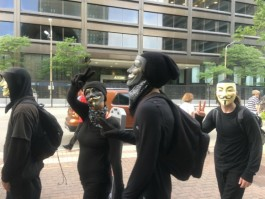 Masked protestors at the RNC