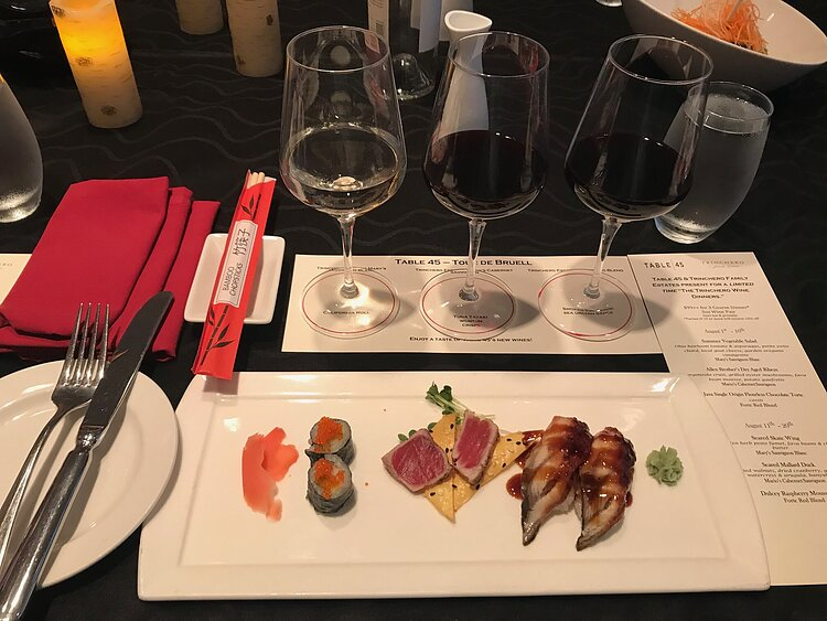 Wine and sushi flights at Table 45