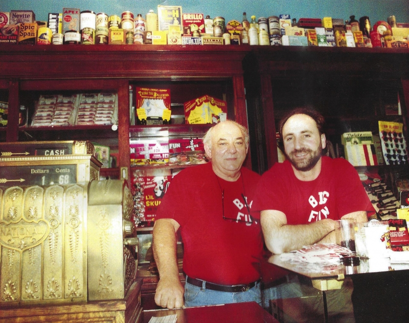 Steve Presser with father Marvin at Big Fun's 1991 grand opening